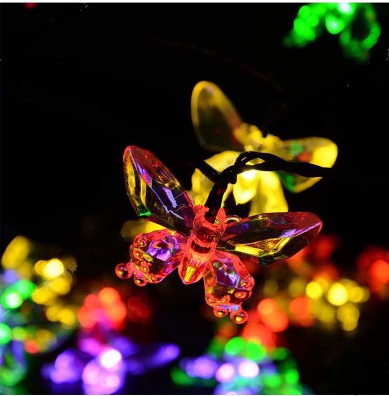m de la mariposa blanco clidorgb led solar luces de la secuencia