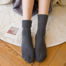 Winter new womens thick warm color Songkou Harajuku retro fashion casual high-grade cotton socks