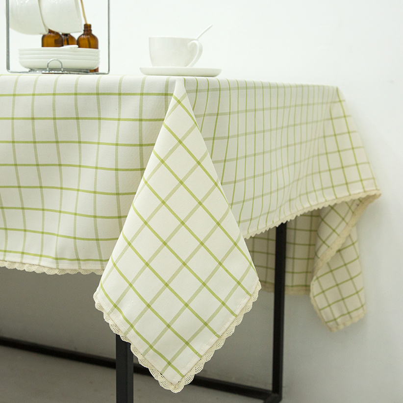 Whiteu0026Green Plaid Table Cloth Water Repellent Oil Resistant Mildew Resistant  Tablecloth With Lace Edge Dustproof Rectangular