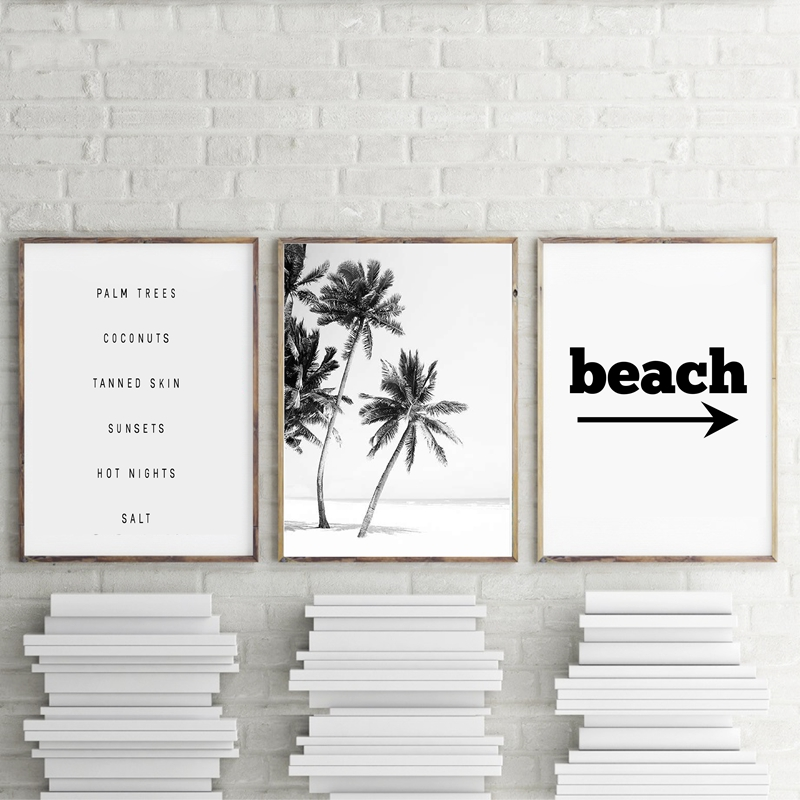Black and White Beach landscape Canvas Painting Palm Trees Posters And Prints Wall Pictures Home Living Room Wall Decoration(China)