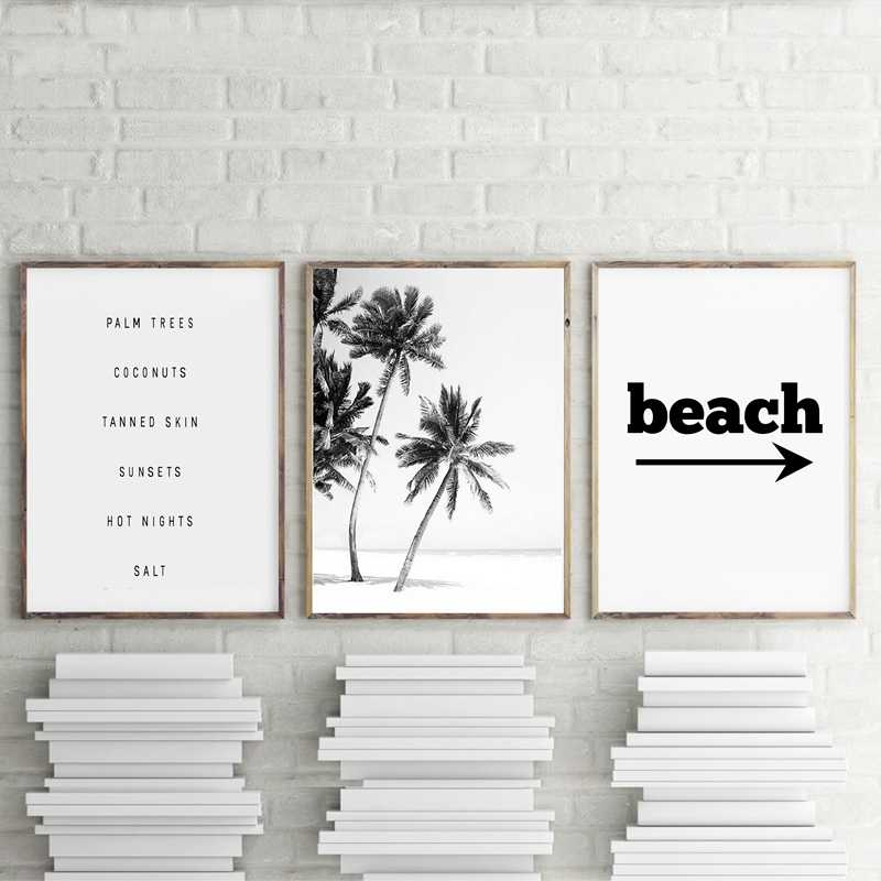 Preto e Branco Praia paisagem Pintura Palmeiras Cartazes E Impressões Da Parede Da Lona Fotos Para Casa Sala de estar Decoração Da Parede
