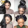 7A Brasileira Cheia Do Laço Perucas de Cabelo Humano Para As Mulheres Negras Em Linha Reta Parte Dianteira do laço Perucas de Cabelo Humano Com o Cabelo Do Bebê Sem Cola Cheia Do Laço peruca