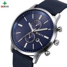 NORTH brand hombres reloj deporte hombres reloj de pulsera de cuero genuino azul único de negocios reloj para hombre de cuarzo ocasional impermeable