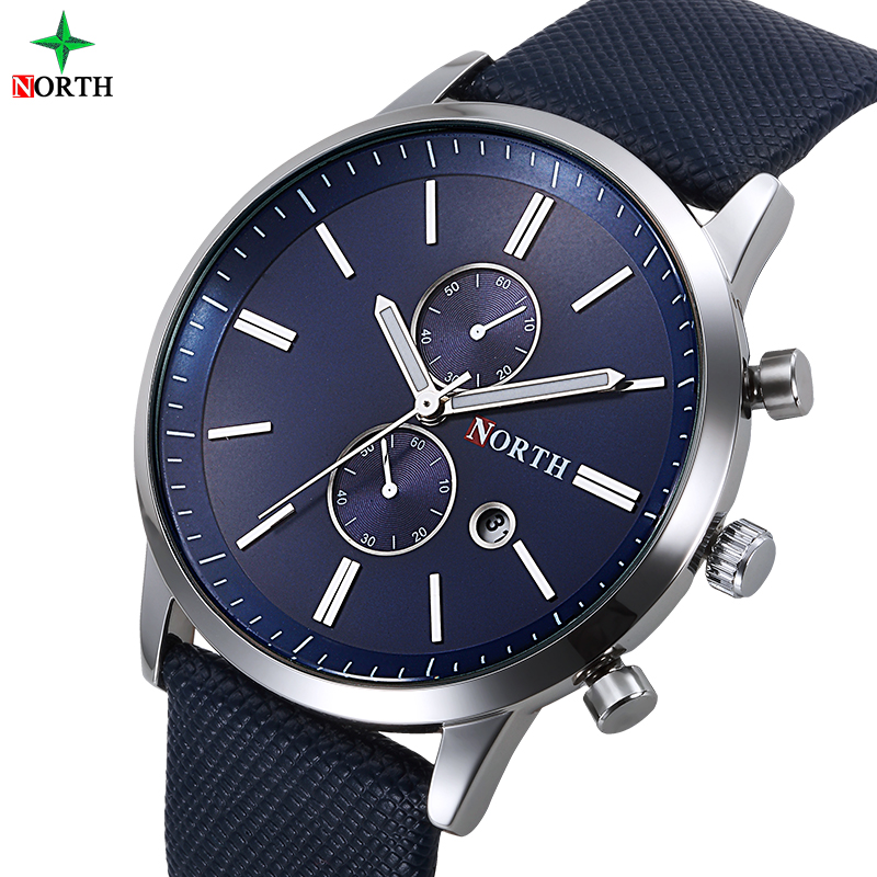 North Luxury Men Klockor Business Casual Man Armbandsur Blue Silver Äkta Läder Unik Sport Man Quartz Watch Vattentät