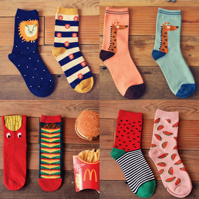 fashion animal patterns cotton   socks   for women lion giraffe deer character lovers   socks   2pairs/box