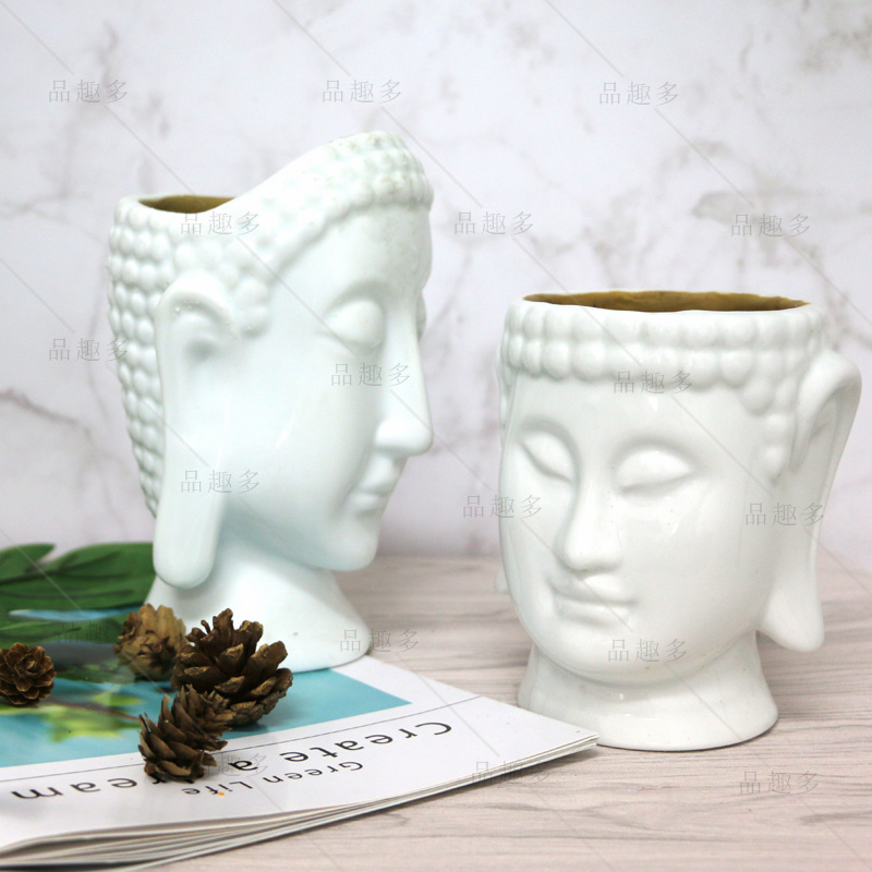 Cement Buddha head flowerpot silica gel mould indoor desk set pieces to ward off evil spirits concrete succulent flowerpot mold
