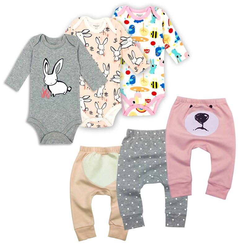 6Pieces/Lot Baby boy clothes summer kids clothes sets bodysuit+pants suit Star Printed Clothes newborn sport suits baby's Sets