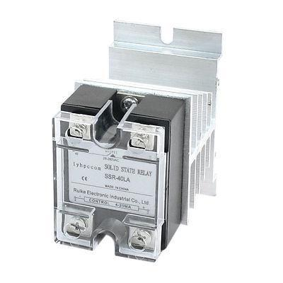 4-20mA to AC 28-280V 40A Single Phase Aluminum Heat Sink SSR Solid State Relay
