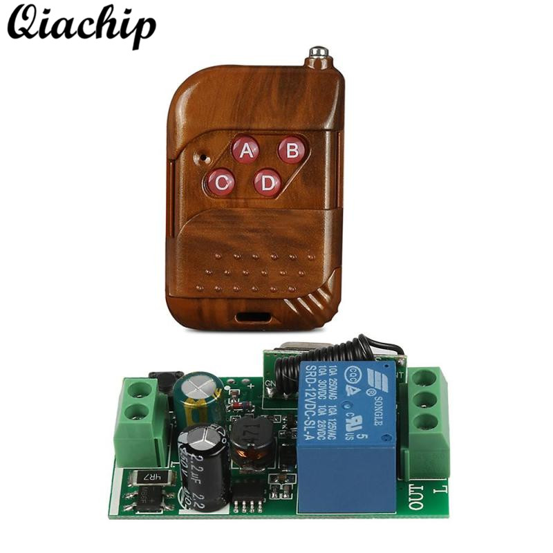 QIACHIP 433 Mhz RF DC 12V Remote Transmitter and AC 110V 220V 1CH Remote Control Switch Receiver For Hall Bedroom Light Lamps