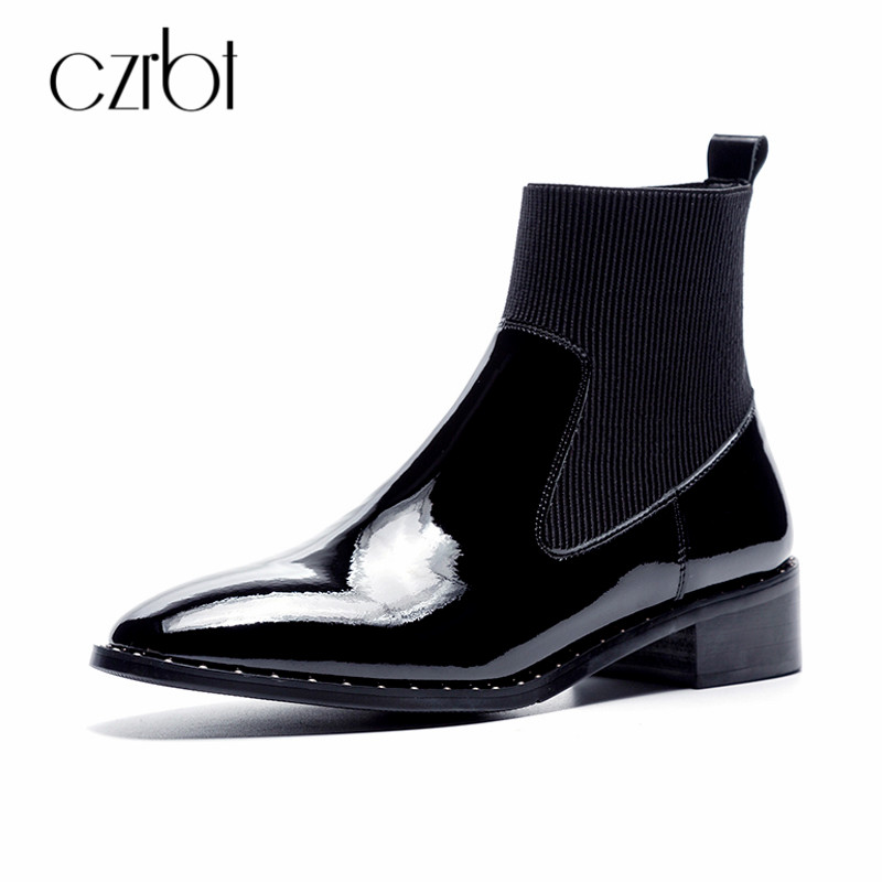 CZRBT 2018 Brand New Women Boots Slip On Ankle Chelses Boots Women Shoes Ladies Flat Shoes Patent Leather Rivet zapatos mujer