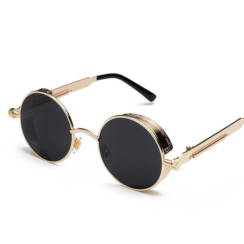 2018 nuevas gafas de sol clásicas de vapor Punk gafas reflectoras redondas europeas y americanas para hombres y mujeres gafas de sol