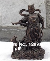 00932 China classical Buddhism folk tale red bronze er Lang God buddha fengshui statue