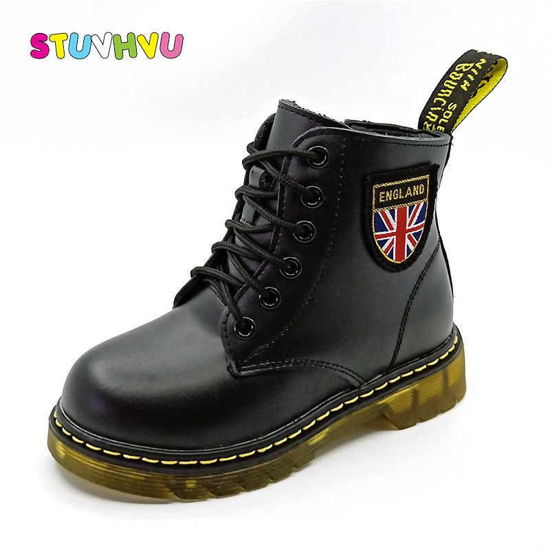 Children's Martin boots boys girls fashion motorcycle boots autumn winter genuine leather soft waterproof black kids boots shoes тетрадь 24л а5 линейка комплект подписные издания tattoo