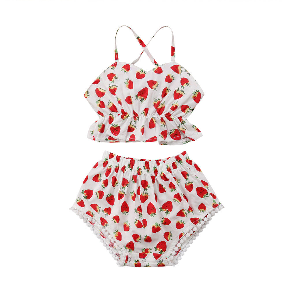 2PCS Summer Cute Backless Clothing Sets Kids Baby Girls Strawberry Outfits Clothes Trap Tops+Shorts Shorts