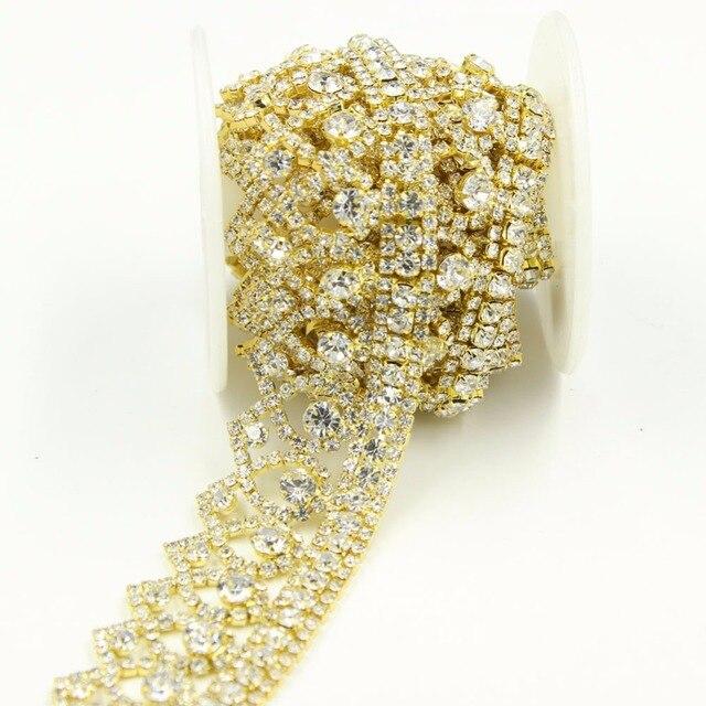 1 Yard Gold Banded Sparkling Rhinestone Trim Ideal Crystal Applique ...