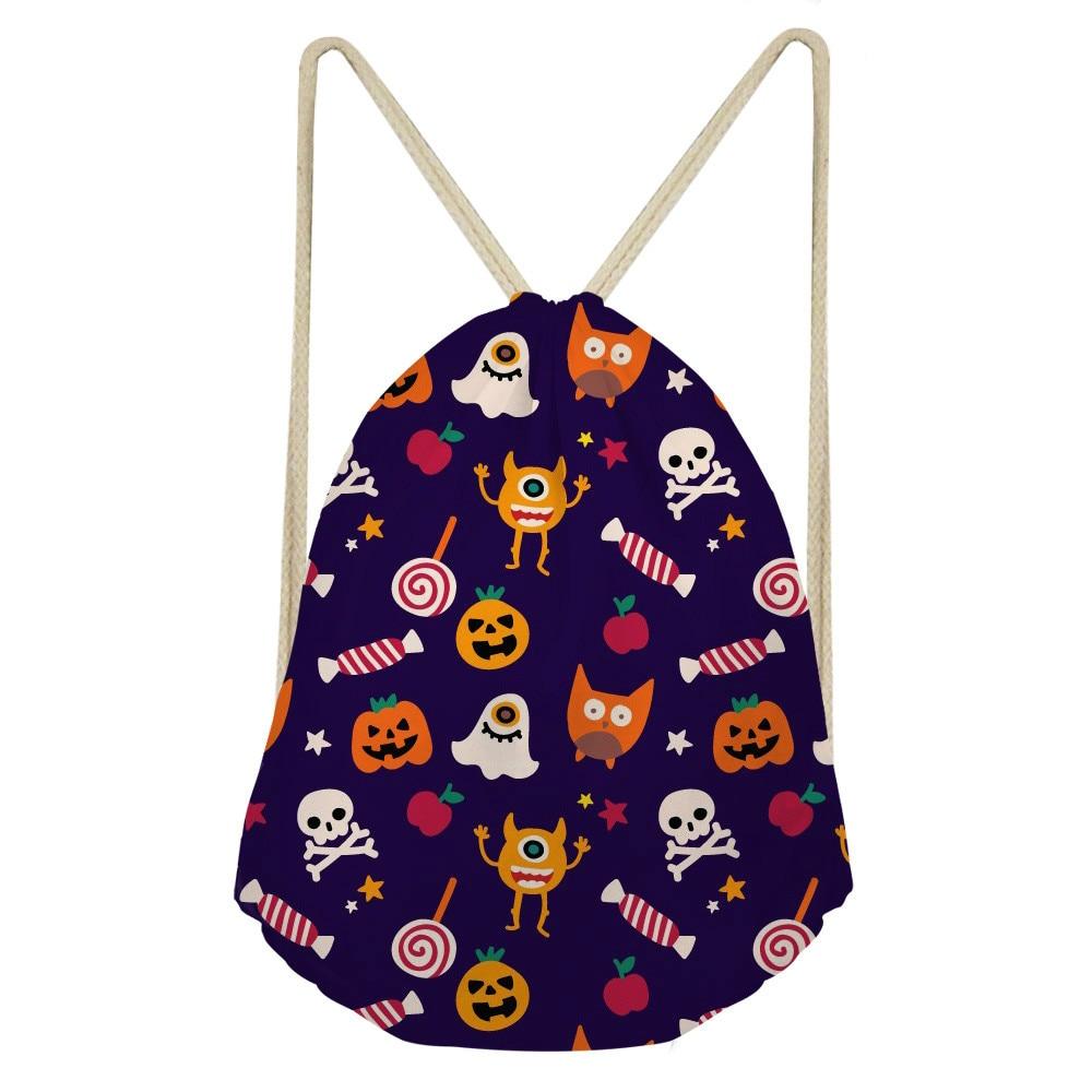 ThiKin Drawstring Bag Draw String Bag Unisex Halloween Skull Backpacks 3D Printing Drawstring Backpack Sack Bolso Unicornio