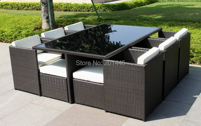 Rattan mimbre conjunto cubo exterior patio muebles de jardín mesa de ...
