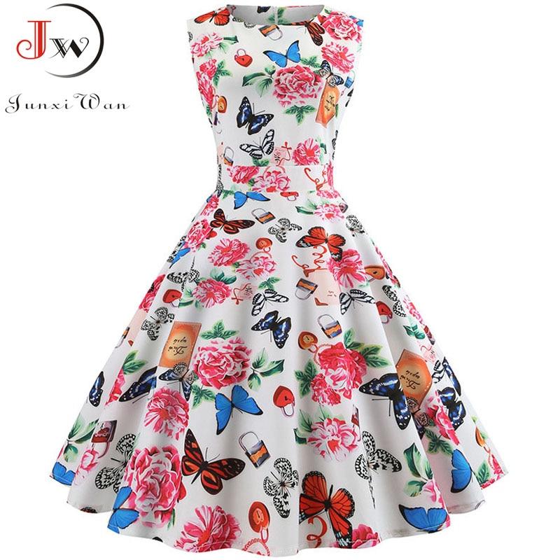Women Summer Sleeveless Floral Print Midi Dress O Neck Retro Vintage Dresses Vestidos Robe Rockabilly Party Dress Plus Size