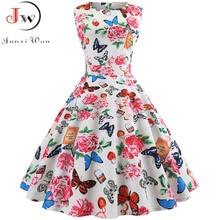 Women Summer Sleeveless Floral Print Midi Dress O Neck Retro Vintage Vestidos Robe Rockabilly Party Plus Size