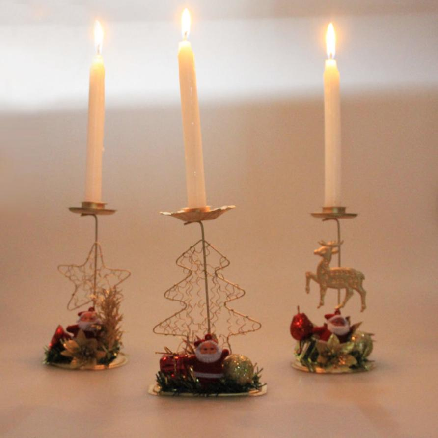 Merry christmas pvc candle holder romantic candlestick for Christmas candle displays
