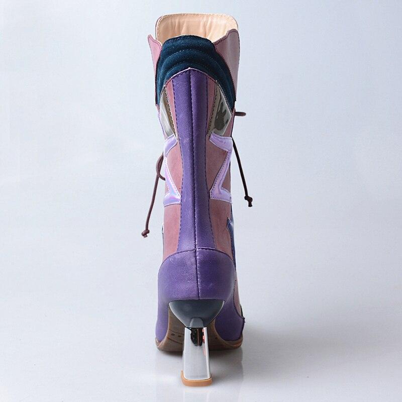 Suave Punta Mezclados Botas Alto Perfetto Moda Colores Del Coffee Prova fósforo Martin Cuero Zapatos Marca Genial Tacón De purple Vaca Mujer Todo 6wSOP