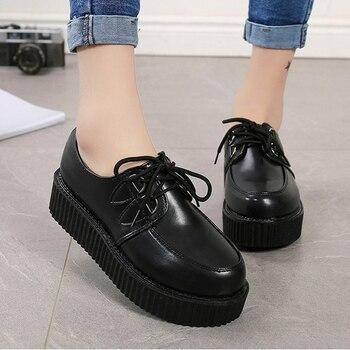 Creepers Women Shoes 2019 Plus Size Women Flats Shoes Woman Platform Espadrilles New Female Suede Lace Up Comfort Ladies Shoes 1
