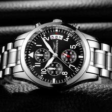 GUANQIN นาฬิกาแบรนด์แฟชั่นผู้ชายหรูหรา 2018 สแตนเลสผู้ชายนาฬิกากันน้ำชายนาฬิกาผู้ชายสีดำนาฬิกาข้อมือควอตซ์ B