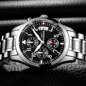 Image 1 - GUANQIN Fashion Brand Watch Men Luxury 2018 Stainless Steel Men Watch Date Waterproof Male Clock Man Black Wrist Quartz Watch B