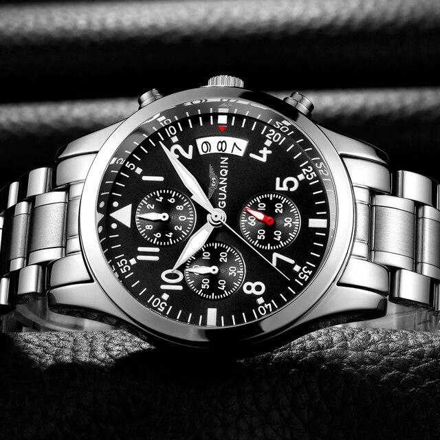 GUANQIN Fashion Brand Watch Men Luxury 2018 Stainless Steel Men Watch Date Waterproof Male Clock Man Black Wrist Quartz Watch B