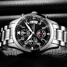 Marque de mode GUANQIN montre hommes de luxe 2018 en acier inoxydable montre hommes Date étanche mâle horloge homme noir montre bracelet à Quartz B