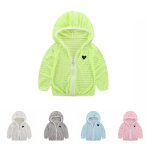 Children\'s Clothing Spring Summer For Boys Girls Striped Hooded Sun Protection Clothing Kids