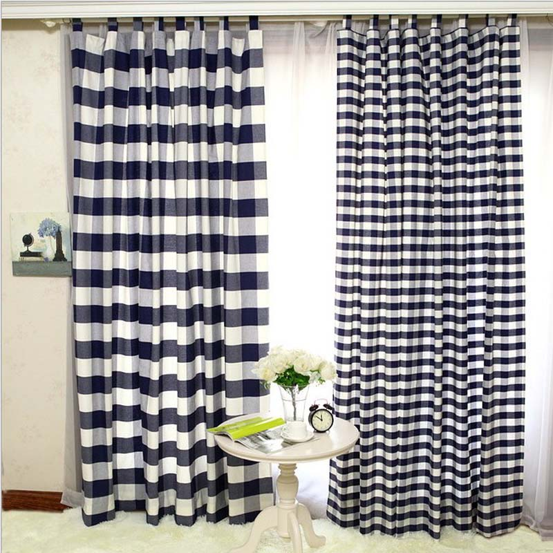 American style checks curtains for children 39 s living room for M s living room curtains