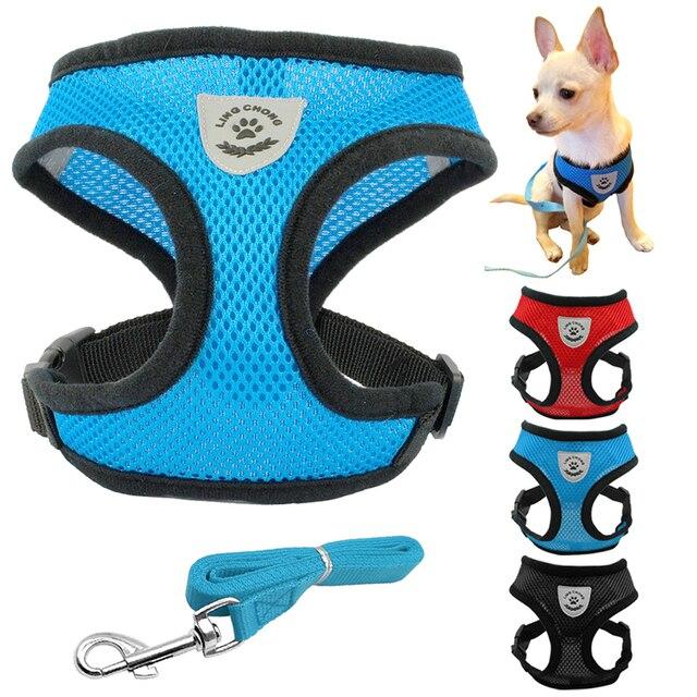 Colliers de chien Harnais et Laisse Animal Fixé Chat Nylon Mesh Chiot  Chihuahua Gilet Chiens Accessoires 79e1df5db156