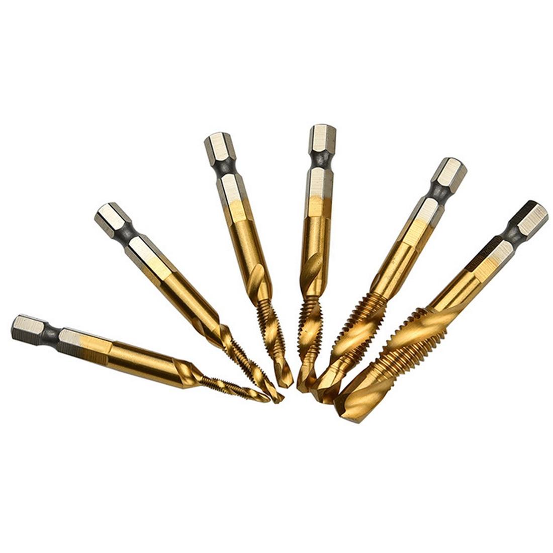 M3 M4 M5 M6 M8 M10 Metalworking Hex Shank Machine Taps Kit Metric Plug Hand Tap Drill Bits HSS 6542 Screw Spiral Point Thread