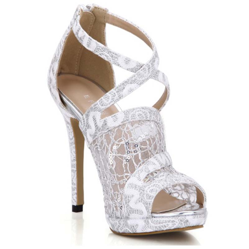 ФОТО big size 35-43 summer mesh cool boots cross-strap open toe sandals bling summer pumps peep toe zip party wedding platform shoes