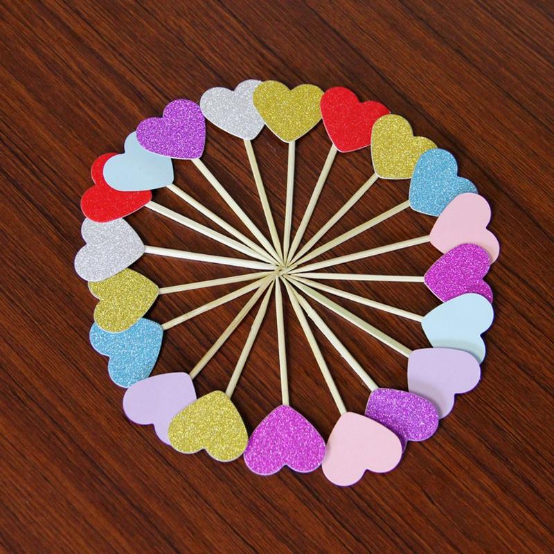 unidslote hecho a mano rosado encantador corazn cupcake toppers pastel de suministros fiesta