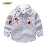 Jomake الفتيان قمصان 2018 جديد الخريف أزياء ماركة الملابس لطيف التطريز تصميم شريط طفل رضيع قميص ملابس الأطفال