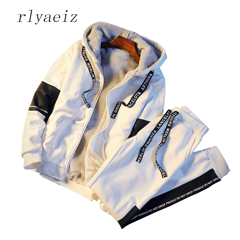 Rlyaeiz Plus Size 5XL Hooded Hoodies + Pants Two Piece Set Men Tracksuit 2017 Winter Casual Fleece Thick Warm Sporting Suits Men