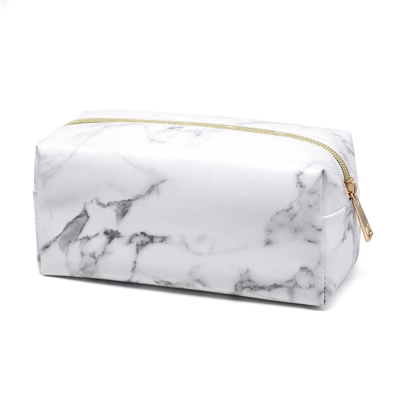 76c3d544185 New Fashion Marble PU Leather Cosmetic Bag Zip Lock Storage Bag Ladies  travel organizer Square Makeup Bag M01
