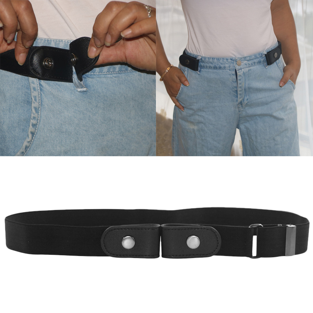 Women Men Unisex Faux Leather Lazy Elastic Belt Buckle-Free Invisible Adjustable Waistband Jeans Hassle Slim Stretchy Simple