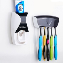 Creative Automatic Toothpaste Dispenser Toothbrush Holder Set Bathroom Toothpaste Squeezers Wall Mount Rack Bathing Accessories automatic toothpaste dispenser dust proof toothbrush holder wall mount stand bathroom accessories toothpaste squeezers tooth b4