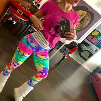 2018 New Camo Printing Leggings Put Hip Fold Elastic High Waist Legging Breathable Slim Pants 1