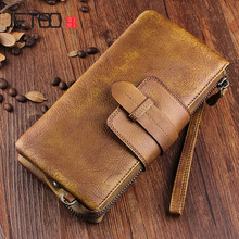 AETOO Tanned leather mens wallet long section zipper hand-made retro soft handbag to do young womens clutch
