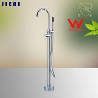 Wels And CUPC Solid Brass Floor Standing Tub Shower Faucet With Hand Shower Head Bathroom Shower