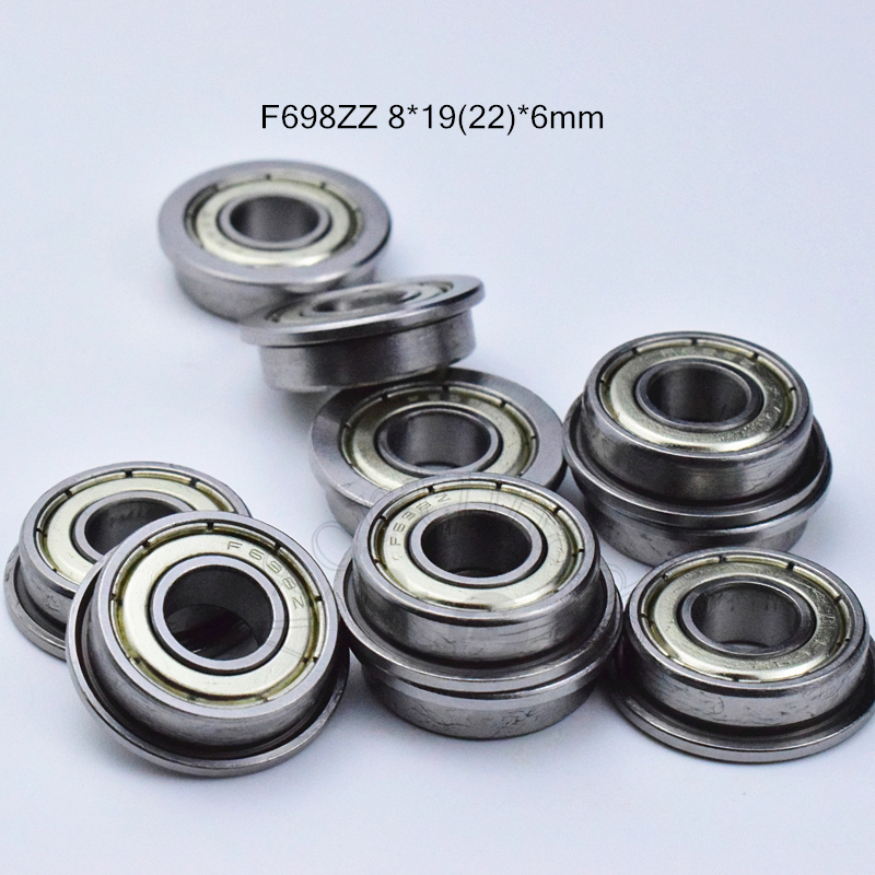 F698ZZ 8*19&22*6(mm) 10pieces Flange Bearings  698 F698Z F698ZZ Chrome Steel Deep Groove Bearing