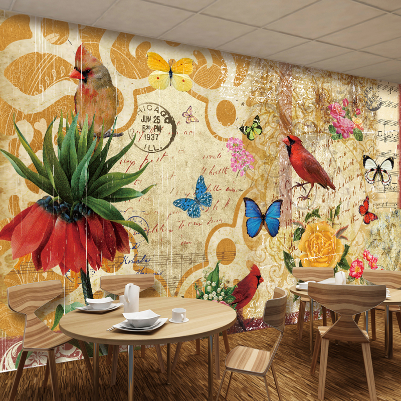 Custom Wall Painting Vintage Pastoral Flowers Birds Mural Nostalgia Restaurant Cafe TV Backdrop Photo Wallpaper For Living Room custom poster photo wallpaper retro nostalgia 3d cartoon car graffiti mural wallpaper for living room tv backdrop wall paper
