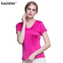 100% натуральный шелк Женские футболки Femme V воротник короткий рукав дамы диких Карамельный цвет Женская Базовая модель женская футболка Топы