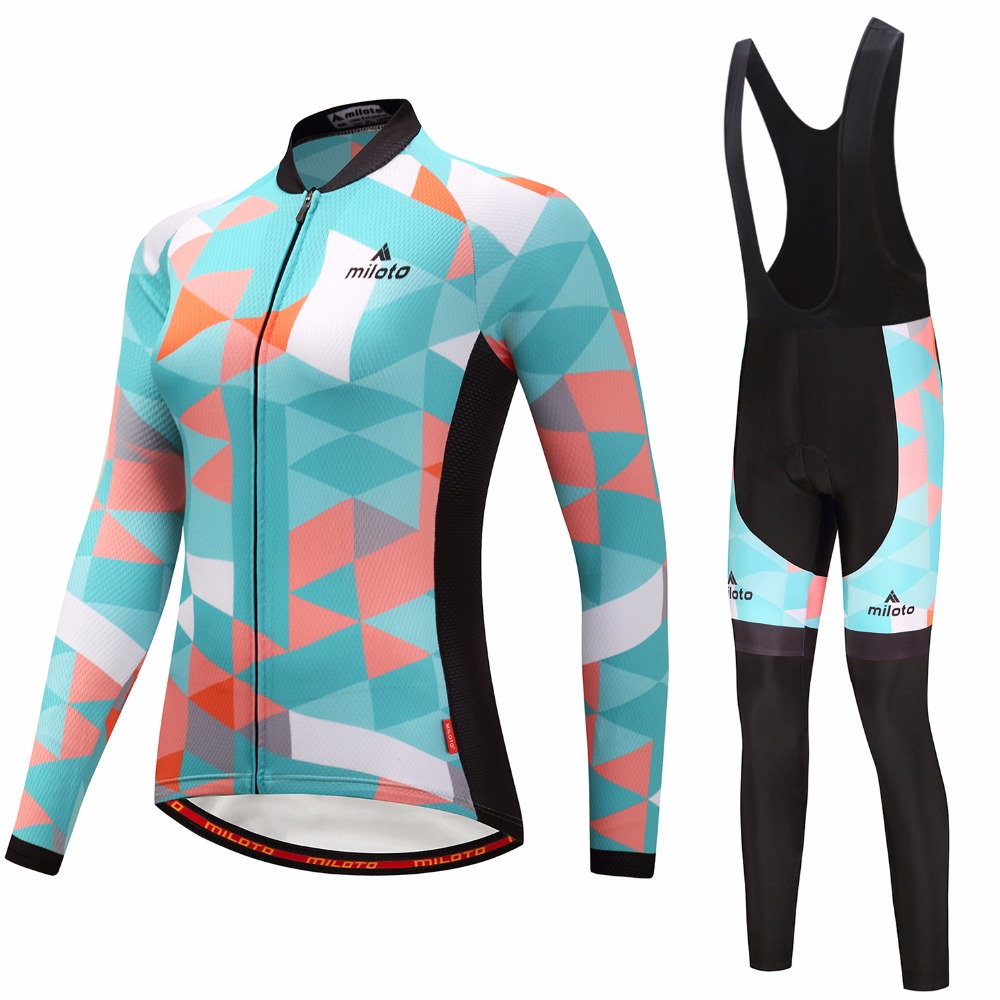 2018 Womens Cycling Jerseys Sets Ropa Ciclismo Cycle Clothes Long Sleeve Jerseys Sets Bicycle Sportswear Cycling Clothing-in Cycling Sets from Sports & Entertainment    1