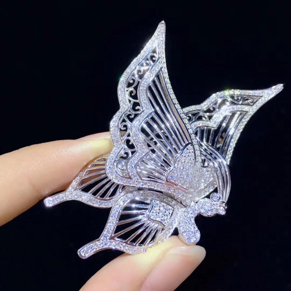 Broche papillon blanc insecte broches 925 argent sterling avec zircon cubique mode femmes bijoux 37*68 MM pendentif double usage - 3