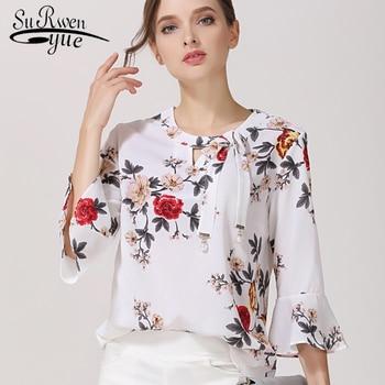 dfc9fe709e0 Модные Для женщин 2018 Блузы печати шифон Для женщин блузки рубашки flare  рукавом летние женские топы женские блузы Blusas D278 30